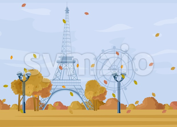 Paris Autumn season park Vector. Fall poster cityscape. Eiffel Tower illustration Stock Vector