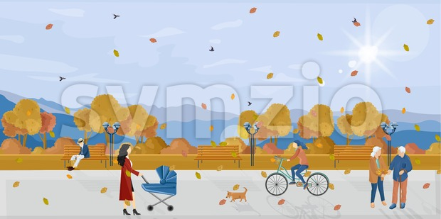 People in park autumn Vector flat style. Fall season poster. Urban lifestyle recreation Stock Vector