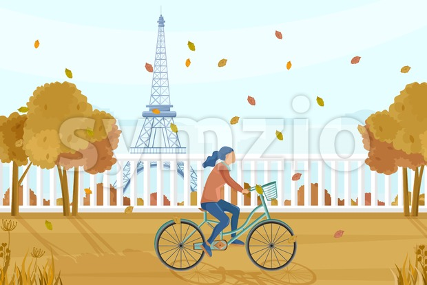 Woman on bicycle in Paris autumn Vector. Fall season lifestyle cycling in park. Eiffel Tower on background Stock Vector