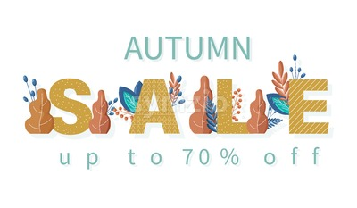 Autumn sale banner Vector flat style. Fall seasonal discount brochure template Stock Vector