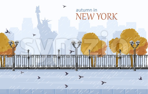 New York autumn Vector flat style. Fall season park view Stock Vector