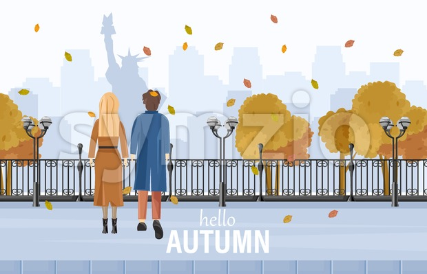 Couple walking in New York autumn Vector flat style. Admiring park view. Fall season lifestyle Stock Vector