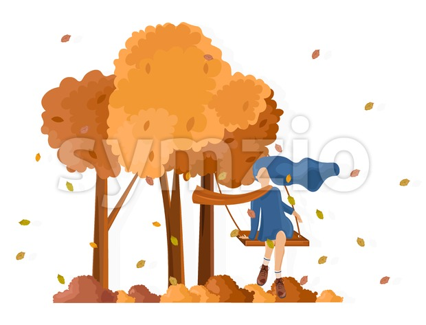 Girl on a swing fall season Vector flat style. Autumn activities lifestyle Stock Vector
