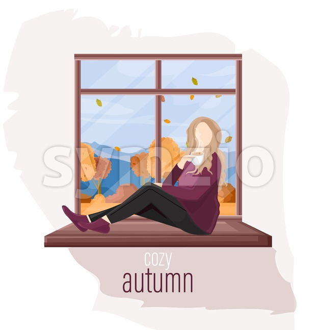 Woman at the window autumn Vector flat style. Fall season lifestyle Stock Vector