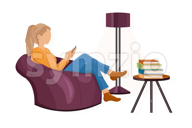 Woman with a smartphone on the sofa Vector flat style. Texting messages or playing games. Leisure lifestyle