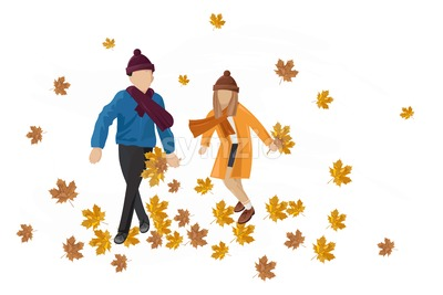 Kids playing outdoors autumn Vector. Happy fall lifestyle illustration Stock Vector