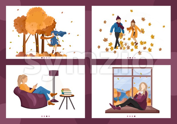 Autumn people lifestyle season Vector. Woman reading, children playing outdoors, people drinking coffee set collection illustration Stock Vector