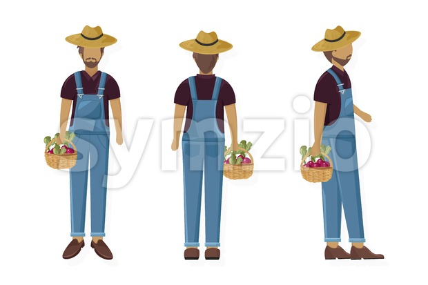Man gardener Vector flat style character cartoon. Agriculture man collecting harvest set Stock Vector