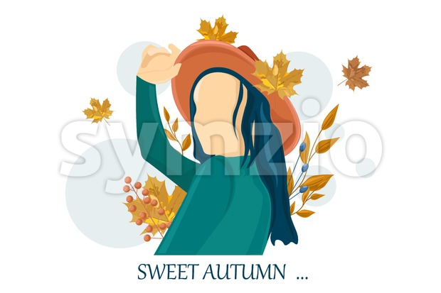 Woman autumn Vector flat style characters set. Beauty lifestyle portrait illustration Stock Vector