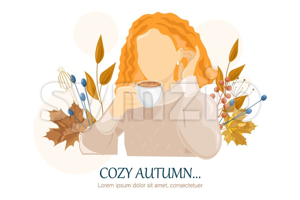Woman dinking coffee autumn Vector flat style character. Beauty lifestyle portrait illustration Stock Vector