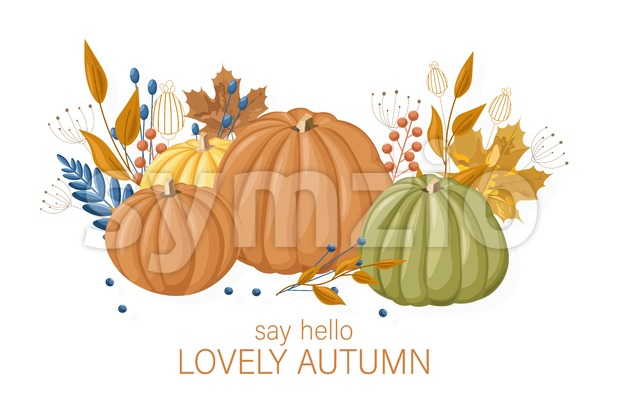 Pumpkins autumn card Vector flat style. Fall season colorful poster Stock Vector