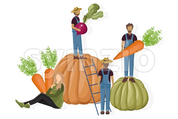 Farmers harvesting Vector flat style. Autumn fall season agriculture brochure template Stock Vector