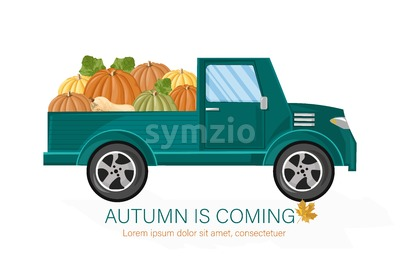Van autumn harvest Vector. Harvest fall season poater template Stock Vector