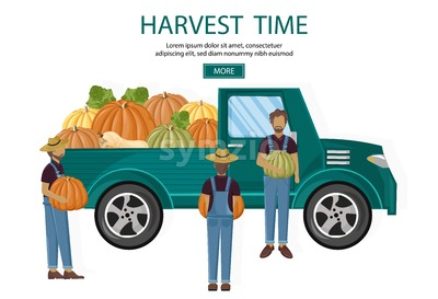 Farmers harvest van Vector. Fall season banner agriculture template Stock Vector