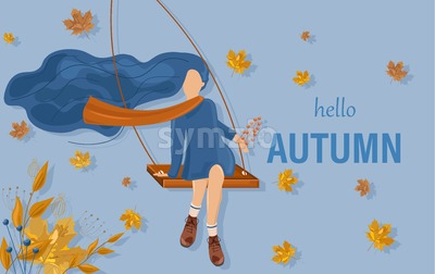 Girl in a swing autumn card Vector flat style. Fall season poster Stock Vector