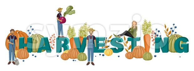 Harvesting text template with farmers Vector layout banner poster Stock Vector