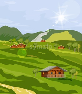 Countryside summer green fields Vector flat styles. Rustic provence house Stock Vector