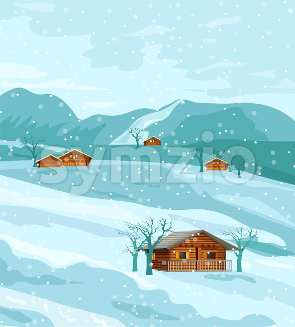 Countryside winter nature Vector flat styles rustic houses fields Stock Vector