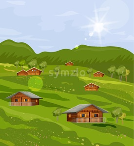 Rustic houses countryside summer green fields Vector flat style Stock Vector