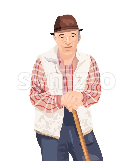 Old man Vector isolated on white. Farmer smilling cartoon character Stock Vector