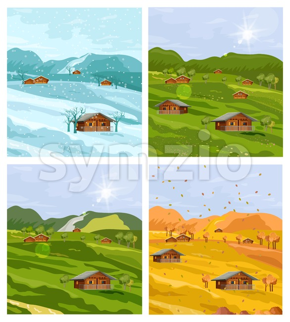 Countryside different seasons Vector flat style. Autumn fall and winter backgrounds illustration Stock Vector