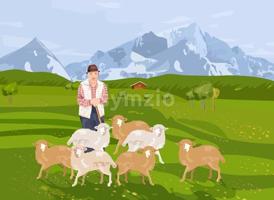 Old farmer sheep Vector. Landscape background mountains view Stock Vector