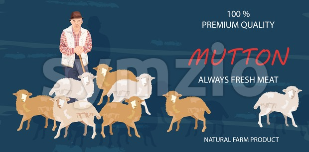 Old farmer and sheep Vector banner. Mutton products organic agriculture Stock Vector