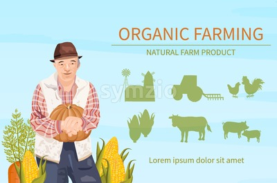 Old Farmer harvest Vector flat style. Organic agriculture template layout Stock Vector