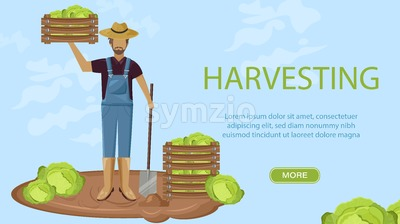 Man harvesting Vector flat style. Autumn fall season agriculture brochure template Stock Vector
