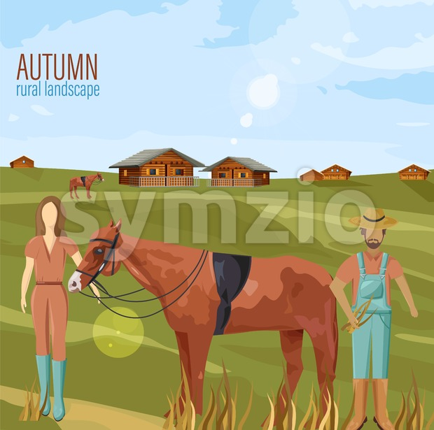 Farmers couple in autumn rural landscape Vector. Woman holding a horse countryside illustration Stock Vector