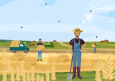 Farmers working hay fields vector flat style Stock Vector