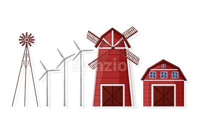 Windmill and farm house set Vector flat style collection Stock Vector