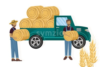 Farmers working hay harvesting vector flat style Stock Vector