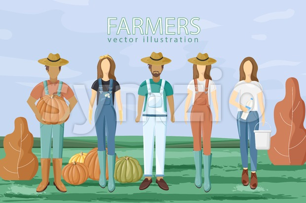 Farmers set Vector flat style. Autumn fall season agriculture brochure template Stock Vector