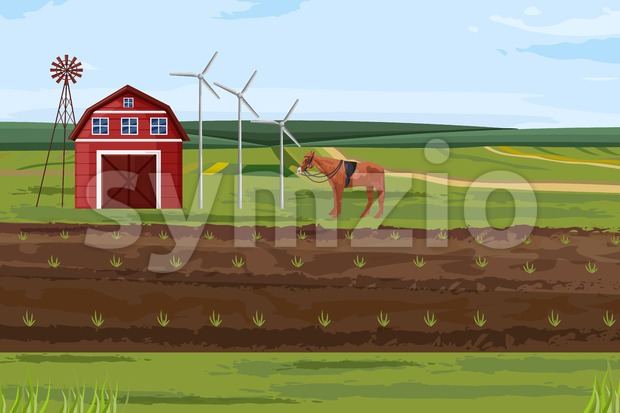 Farm fields Vector. Countryside Label layout template Stock Vector
