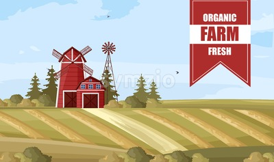 Organic farm poster Vector. Countryside Label layout template Stock Vector
