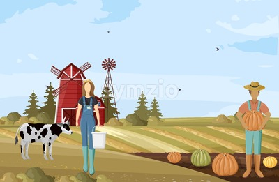 Farmers couple working Vector. Agriculture countryside project template poster Stock Vector