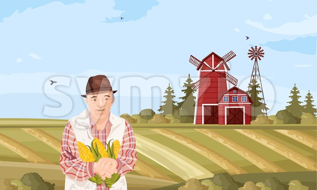 Old Farmer Vector flat style. Organic agriculture template layout Stock Vector