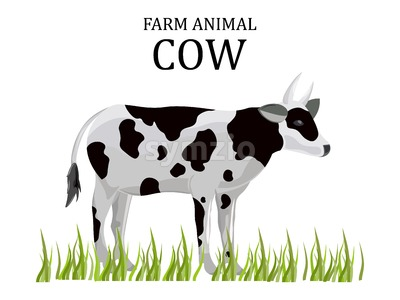 Cow vector flat style. Farm animal icon template Stock Vector