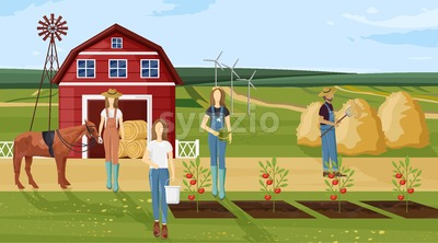 Farm working Vector. Farmers collecting harvest, growing plants and working. Agriculture countryside project template poster Stock Vector
