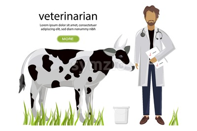 Vet doctor Vector. Medicine poster project layout template Stock Vector