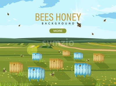Honey bee hives Vector. Bees flying. nature background template Stock Vector