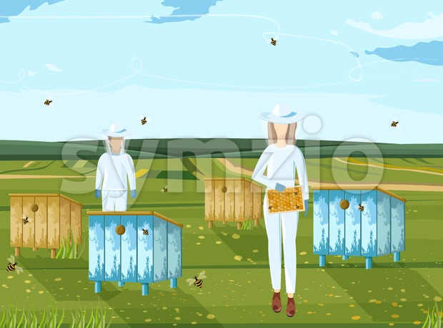 Beekeepers working vector. Organic product. Nature environment honey production Stock Vector