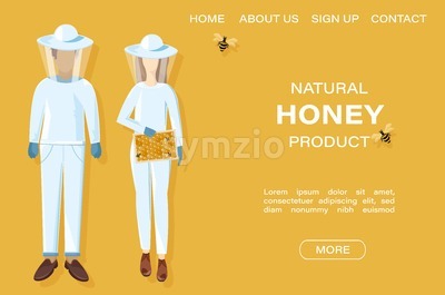 Beekeepers Vector honey banner. Honey theme poster template Stock Vector