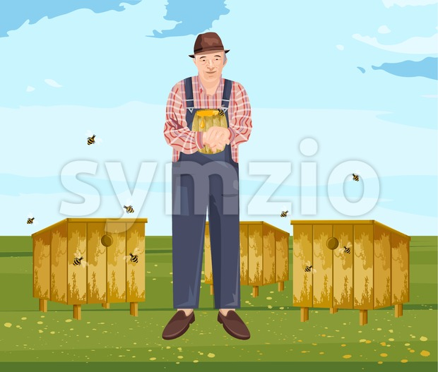 Beekeeper Vector illustration. Farmer eco products. Man holding a honey jar Stock Vector