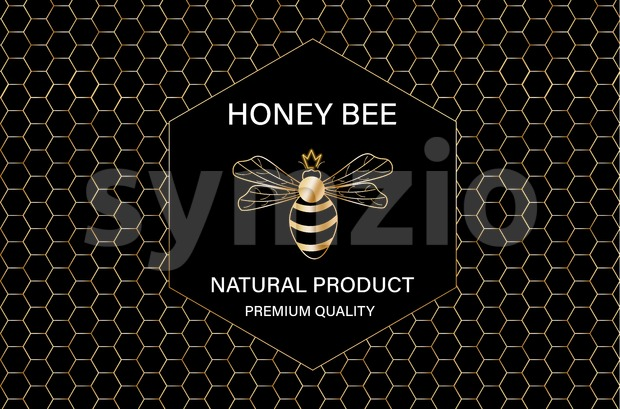 Honey bee golden label Vector. Product placement quality template poster