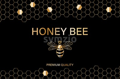 Honey bee golden label Vector. Product placement quality template poster Stock Vector