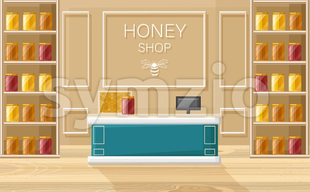 Honey shop Vector flat style. Store shelves with honey bottles template Stock Vector