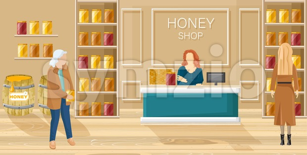 Honey shop Vector flat style. Women buying honey template Stock Vector