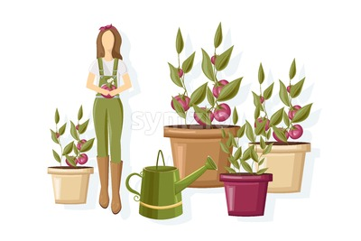 Woman working in the greenhouse Vector flat style. Growing plants and flower Stock Vector